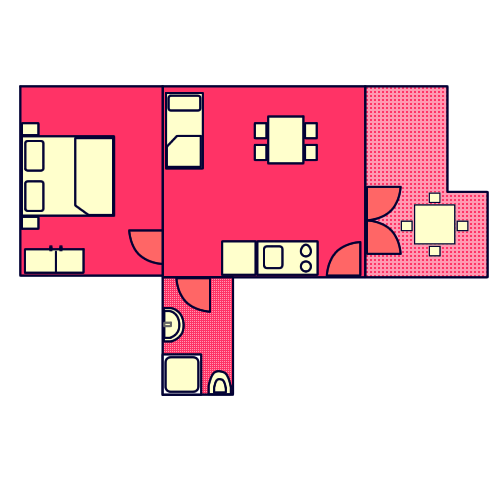 Apartment - A4 - Red Ground-plan